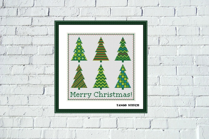 Modern Merry Christmas tree cross stitch pattern