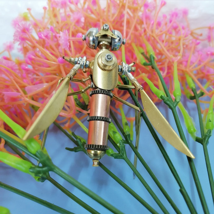 Mosquito Knick Knacks Charming Steampunk  Metal Insects Sculpture Iron Bug  gold