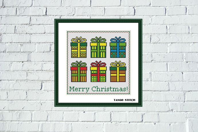 Modern Christmas gift boxes cross stitch pattern