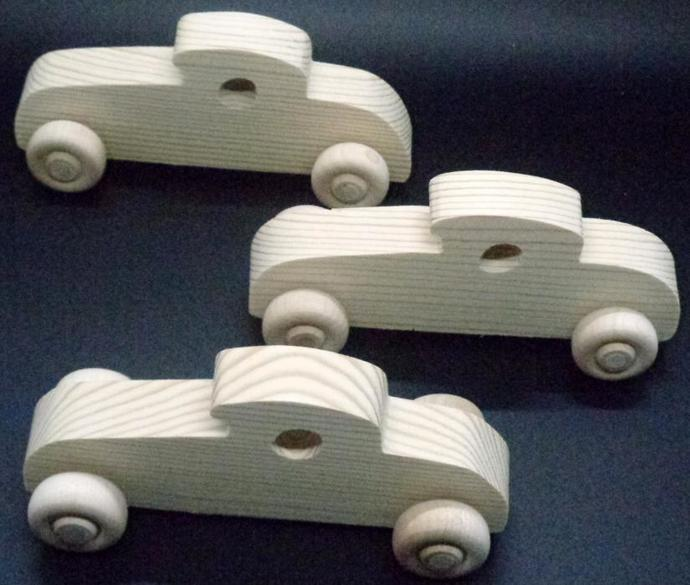 Pkg of 3 Handcrafted Wood Toy Cars 346BH-U-3  unfinished or finished