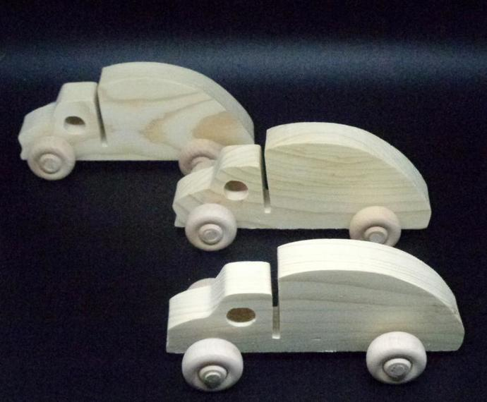 Pkg of 3 Handcrafted Wood Toy Garbage Trucks 361BH-U-3 unfinished or finished