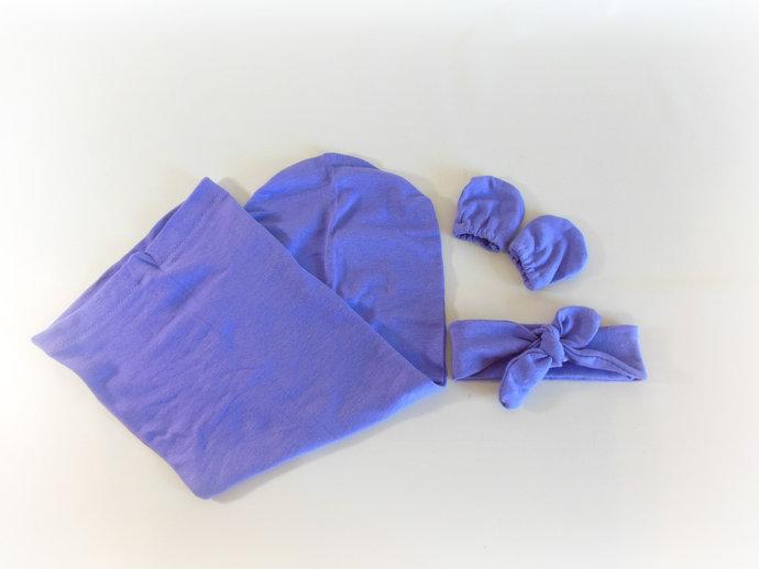 Purple Swaddle Sack, Purple Baby Scratch Mittens, Purple Baby Tie Knot Headband,