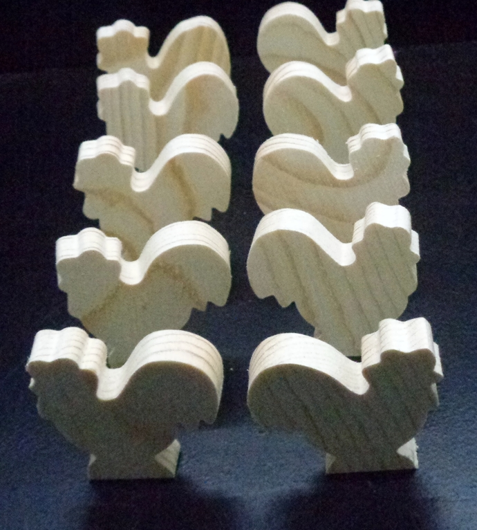 Pkg of 10 Rooster Unfinished  Chunkie  Wood Cutouts WCO-62-5