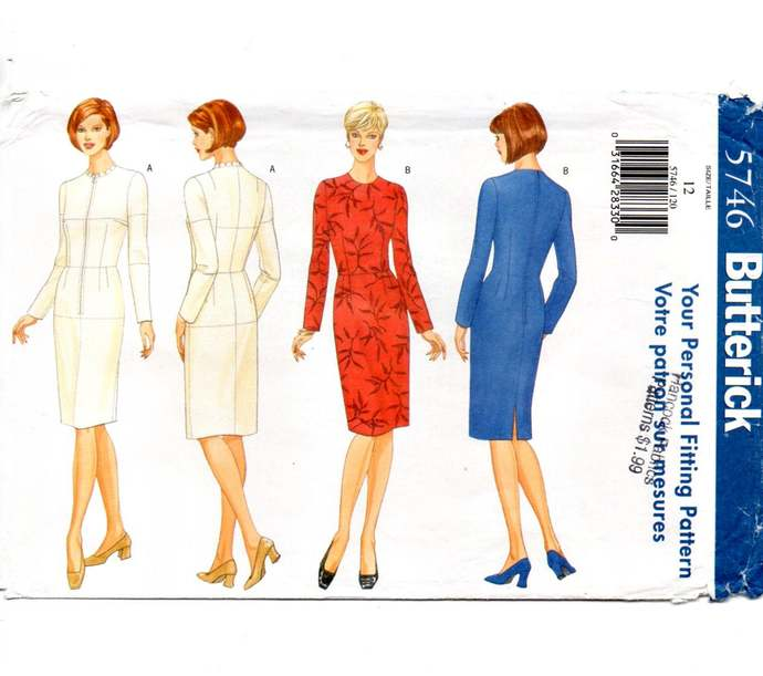 Butterick 5746 Misses Sheath Dress, Fitting Shell 90s Vintage Sewing Pattern
