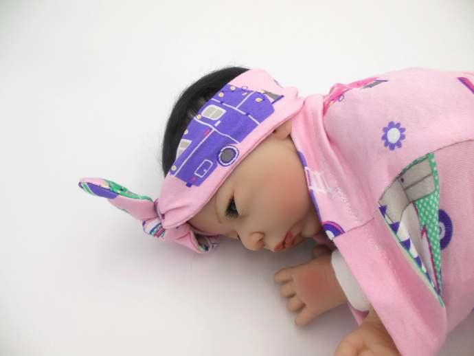 Pink Happy Camper Swaddle Sack, Pink Camper Tie Knot Headband, Pink Camper Sleep