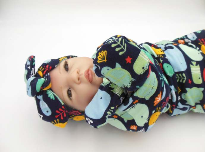 Ocean Animals Swaddle Sack, Ocean Animal Sleep Sack, Ocean Animal Tie Knot