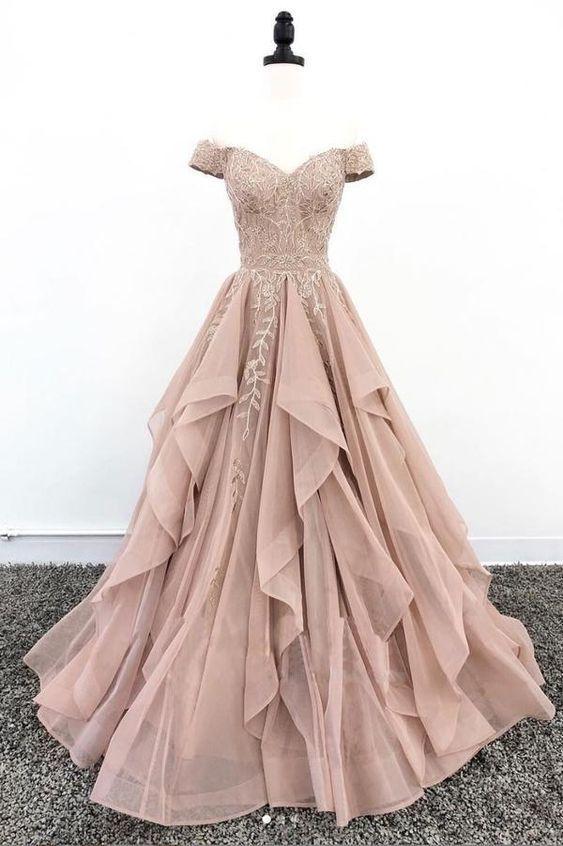 Charming Off Shoulder Lace A-line Long Party Dress, Floor Length Prom Dress
