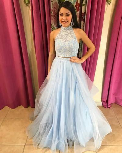 Two Pieces Light Blue Prom Dress,DR1943