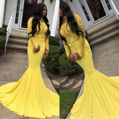 Yellow Long Sleeves Mermaid Prom Dress,DR1954