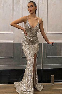 Mermaid Sleeveless Spaghetti-Straps Front-Slipt Prom Dress,DR1956