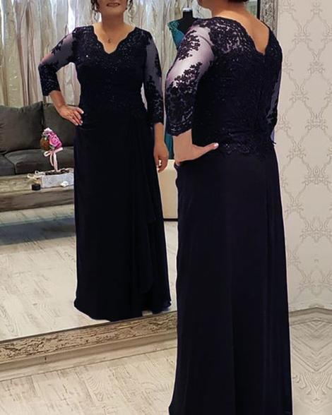 Elegant navy blue lace sleeves prom dress ,DR1958