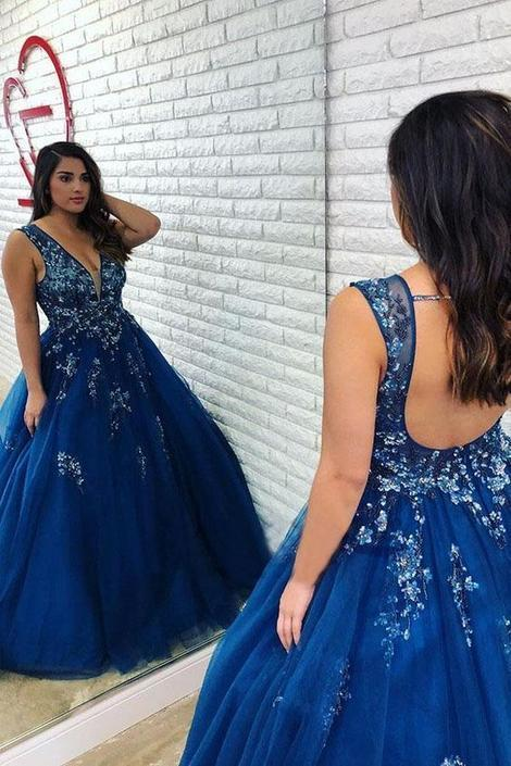 Ball Gown Royal Blue Beaded Long Plus Size Prom Dress with Open Back,DR1959
