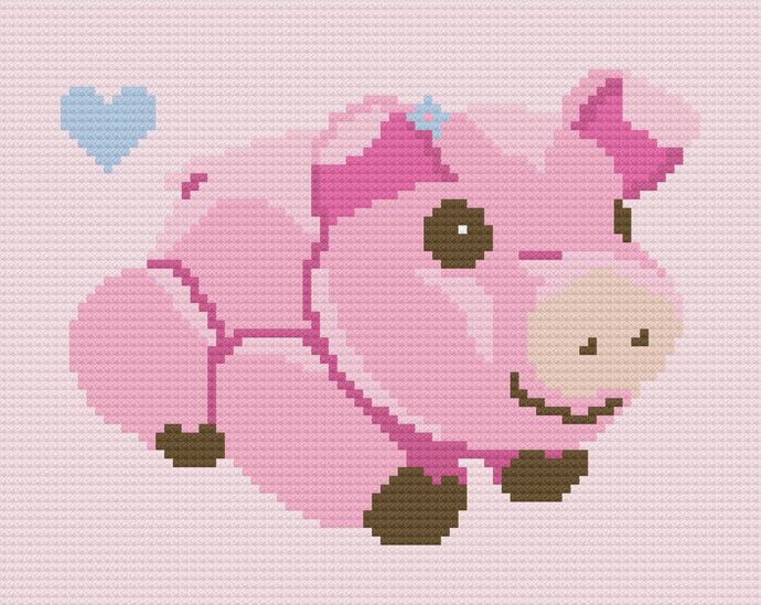 Baby Pig Piglet Love Crochet Pattern Girl C2C Corner to Corner PDF Graph Written