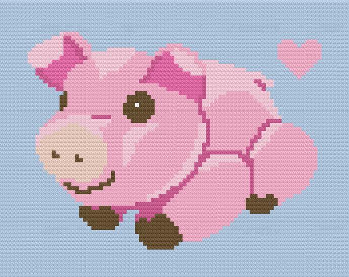 Baby Pig Piglet Love Crochet Pattern Boy C2C Corner to Corner PDF Graph Written