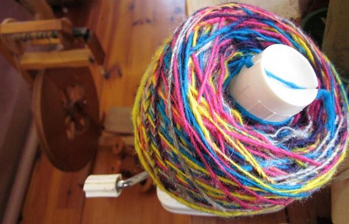 Homespun Wool Yarn, Bright & Colorful Single-Ply