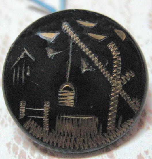 Antique Japanned Lacquered Water Well Button Small Size 11/16 inch