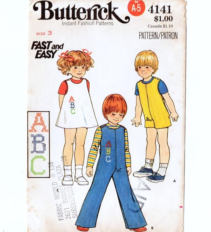Butterick 4141 Boy/Girl Jumper, Jumpsuit 70s Vintage Sewing Pattern Size 3 Chest