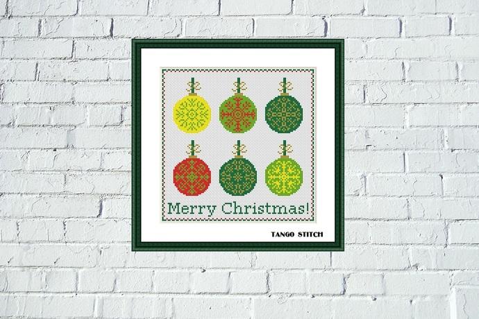 Snowflake ornament Christmas balls cross stitch pattern