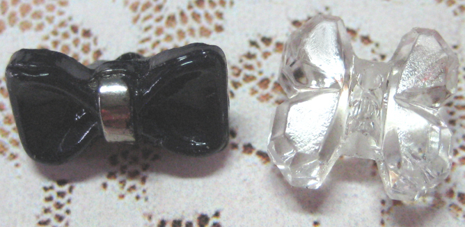 2 - Tiny Vintage Glass Bow Buttons