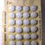 Orig. Card of Elegant White Glass Buttons with Luster Quantity 24