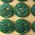 Orig. Card of Elegant Green Glass Buttons with Luster Quantity 24