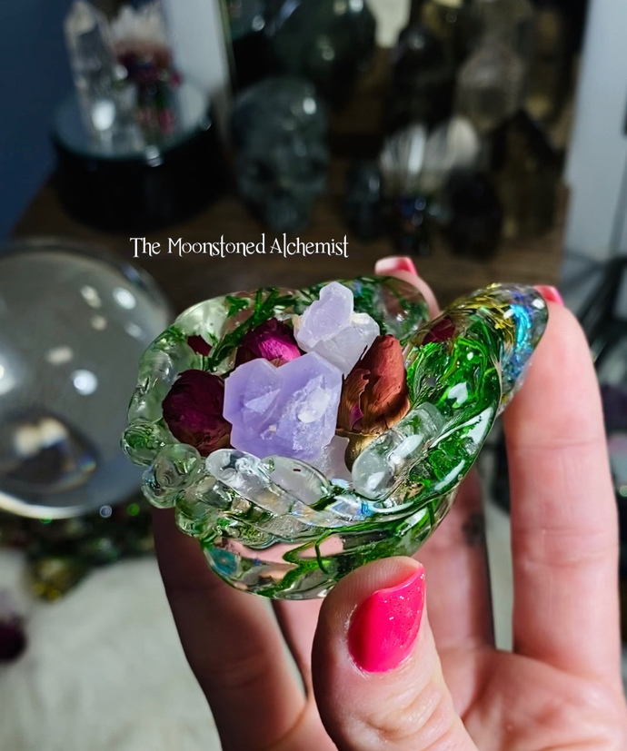 Botanical Offering Dish -featuring Rose & moss