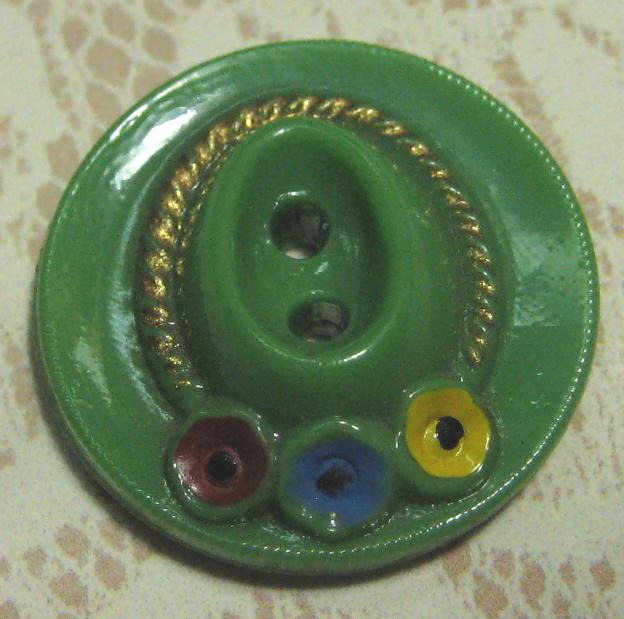 Vintage Green Glass Hat Sew-Thru Button