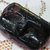 Antique Small Black Glass with Paisley Pattern and Multi Glass Overlay