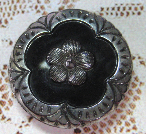 Antique Black Glass with Silver Luster