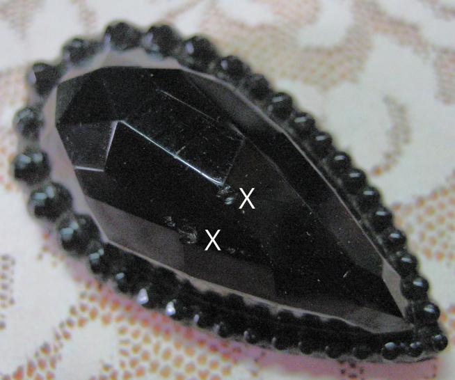 Large Antique Black Glass Teardrop Shape Button