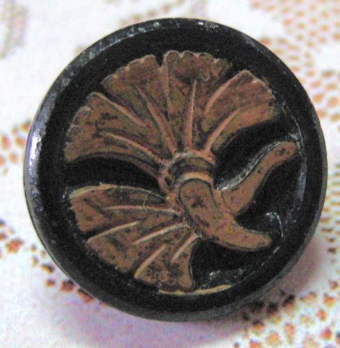 Antique Black Glass Imitation Wood Ginkgo Button