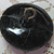 Antique Black Glass Boar Button with orig paint