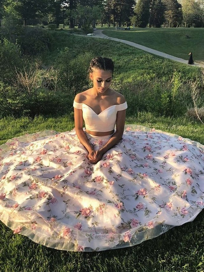 Two Piece Satin and Floral Organza Long Prom Dress, Two Piece Party Dresses