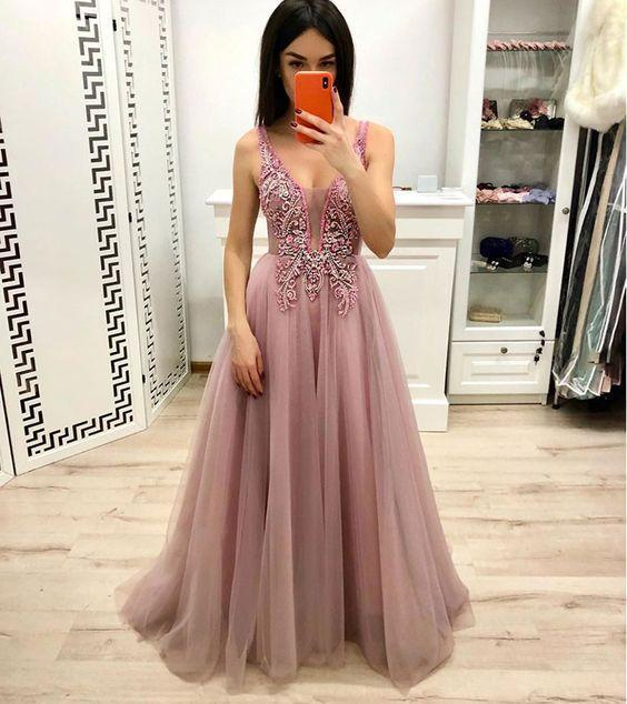 Pink V-neckline Tulle Beaded Applique Long Prom Dress, Pink Evening Dress