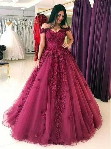 Gorgeous Lace Off Shoulder Wine Red A-line Long Evening Prom Dresses, Wine Red