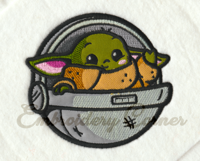 Baby Yoda Applique Design for Embroidery Machines 4x4 - Instant Download