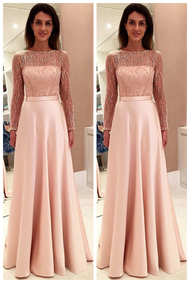 Bateau Long Sleeves Backless Prom Dress with Lace Bowkno
