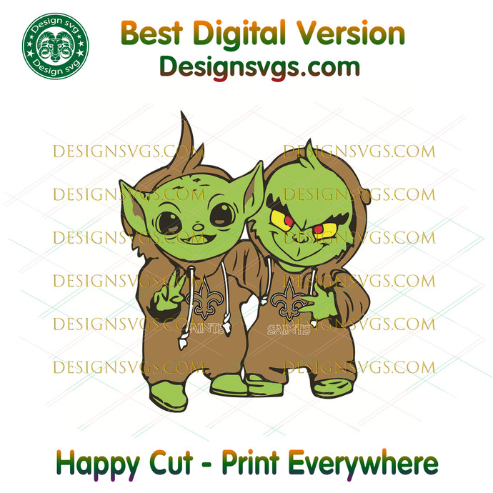 Yoda and Grinch New Orleans Saints,Sport Svg, Football Svg, Football Teams Svg,