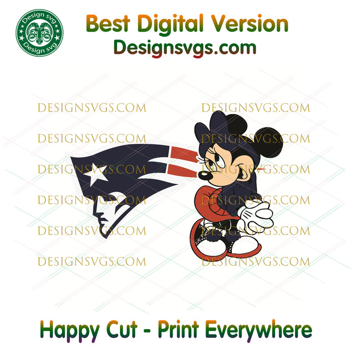 New England Patriots Minnie Svg, Sport Svg, Football Svg, Football Teams Svg,