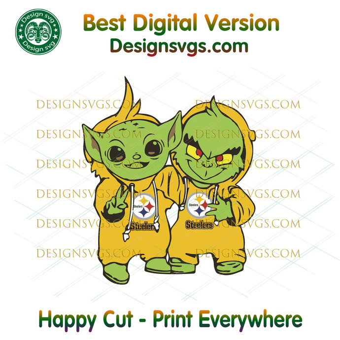 Yoda and Grinch Pittsburgh Steelers ,Sport Svg, Football Svg, Football Teams