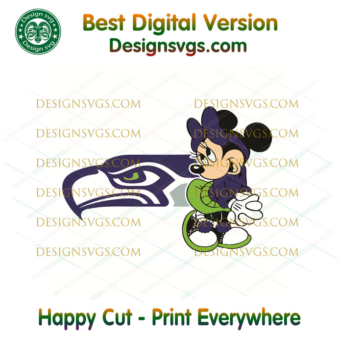 Seattle Seahawks Minnie Mouse Svg, Sport Svg, Football Svg, Football Teams Svg,
