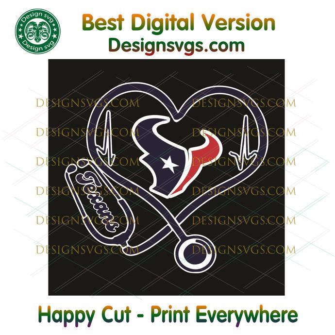 Houston Texans Heart Stethoscope Svg, Sport Svg, Houston Texans, Texans Svg,