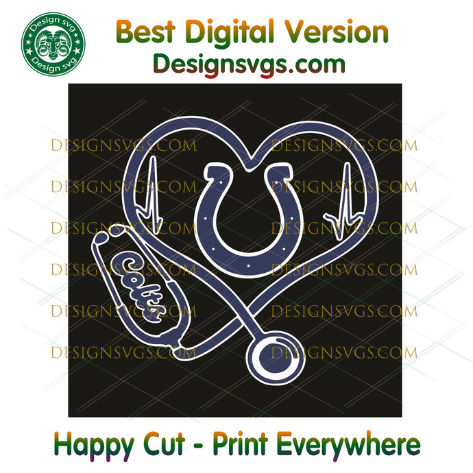 Indianapolis Colts Heart Stethoscope Svg, Sport Svg, Indianapolis Colts, Colts