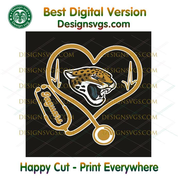 Jacksonville Jaguars Heart Stethoscope Svg, Sport Svg, Jacksonville Jaguars,