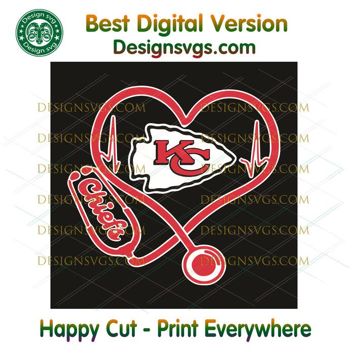 Kansas City Chiefs Heart Stethoscope Svg, Sport Svg, Kansa City Chiefs Svg,