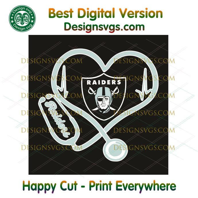 Las Vegas Raiders Heart Stethoscope Svg, Sport Svg, Las Vegas Raiders, Raiders