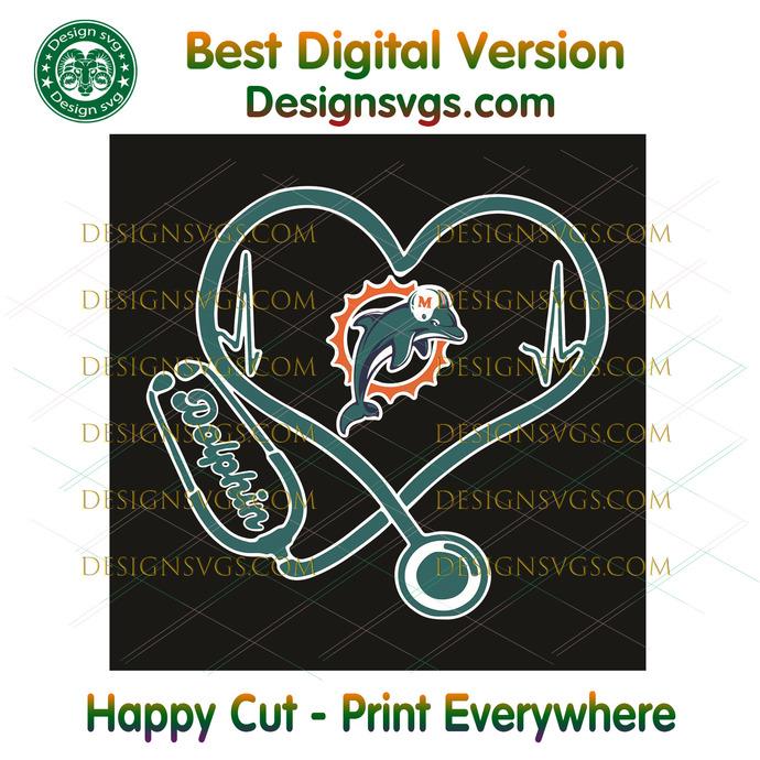 Miami Dolphins Heart Stethoscope Svg, Sport Svg, Miami Dolphins, Dolphins Svg,