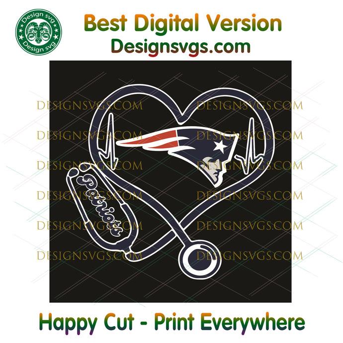 New England Patriots Heart Stethoscope Svg, Sport Svg, New England Patriots,