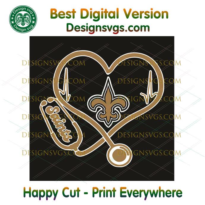 New Orleans Saints Heart Stethoscope Svg, Sport Svg, New Orleans Saints, Saints