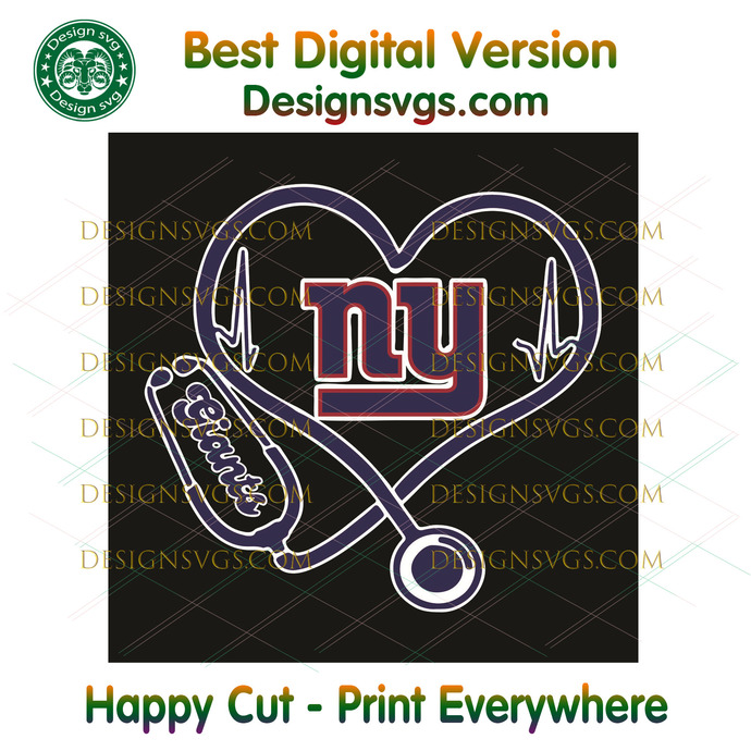 New York Giants Heart Stethoscope Svg, Sport Svg, New York Giants, Giants Svg,